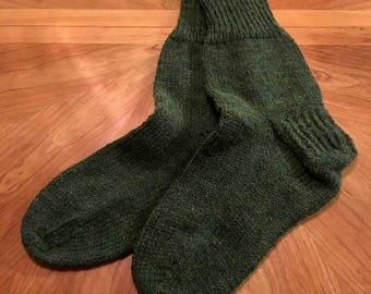 Men's Knit Socks - Green and Cream