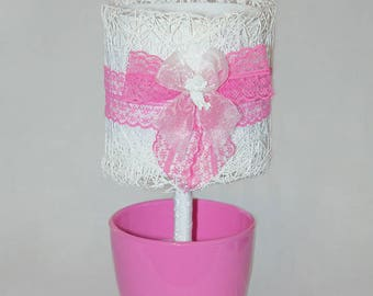 Pink Lamp Shade White Mesh Pink Bow Lamp In A Flowerpot Lace Illuminator Gift For Children Lightening Shade Designer Lace Fabric