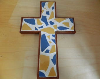 Mosaic Tile and Wooden Cross