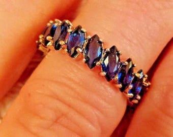10k White Gold Filled Blue Sapphire Quartz  Marquise Cut  Gemstone Eternity Band, Size - 7