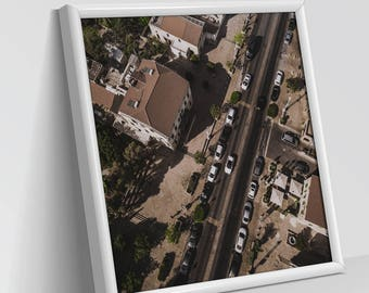 PERSPECTIVES - SMALL TOWN | Aerial Photography, Digital Print, Wall Art Decor, Art Prints, Abstract view, Dry and white