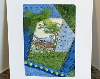 Blue Bird Patchwork Greeting Card