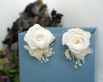 Preserved White Rose earring/real flower jewelry/antique earring