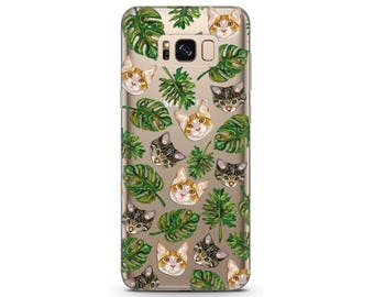 phone case cats pixel xl case cat tropical print cat Galaxy s8 case cat lover gift tropical phone case pixel 2 xl Galaxy note 8 case google