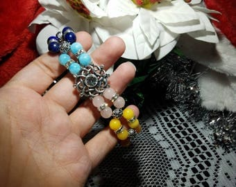 """Lovely Antique Silver Plated Tibetan and Rhinestone accented Chakra bracelet, with 8 Chakra Healing Gemstones, 8.5"""" Length"""