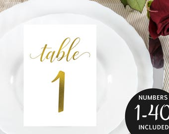 Gold Table Number Template, Table Card Numbers, Wedding Table Numbers, Printable Table Numbers, 5x7, PDF Instant Download