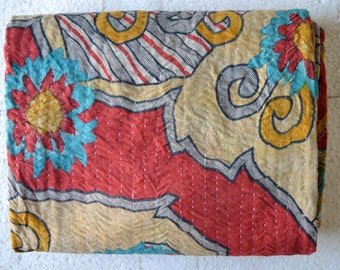 Reversible Kantha Vintage Quilt Handmade Cotton Indian Blanket Throw Bedding G-39