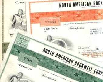 3 Different Scarce Original 1960's NORTH AMERICAN ROCKWELL Stock Certificates (Now Boeing!) Clean & Crisp!