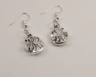 Small Silver Fish Dangle Earrings, Tiny, Fishy, Striped