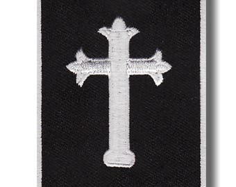 White cross - embroidered patch 5x7 cm