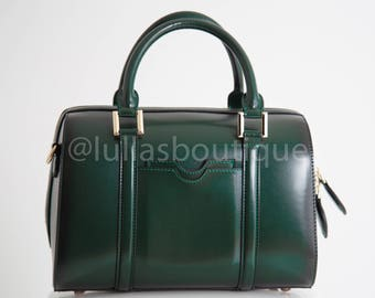 Bowling bag green leather, Tote bag with Long Strap, work leather handbag, Everyday bag, commuter bag, Green top handle bag