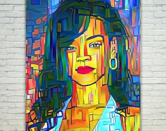 Rihanna - Rihanna Poster,Rihanna  Art,Rihanna Print,Rihanna Poster,Rihanna Merch,Rihanna Wall Art,Rihanna Fan Art,Modern Abstract Pop Art Ho