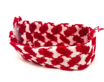 """Handmade and Hand Stitched - 100% Cotton - Red and White Bracelet - (8.5"""" x 1.1"""" x 0.1"""")"""