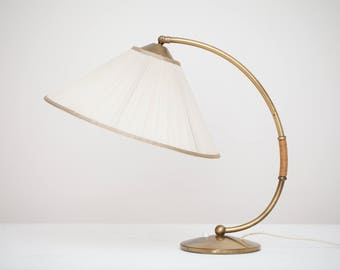 Large 50s table lamp brass with pleated-screen mid century brass table lamp 50s