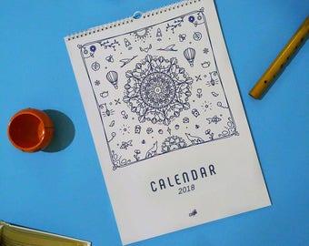 Calendar 2018 Printable Flat Illustration Calendar PDF Line Art A3 A4 A5 Calendar Wall Calendar Modern Christmas Gift New Year Gift Download