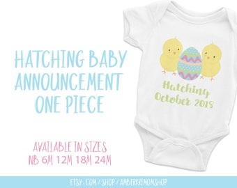 Baby Bodysuit, Baby One-Piece, Cute Infant Bodysuit, Easter One-Piece, Hatching Easter Baby Announcement One-Piece White