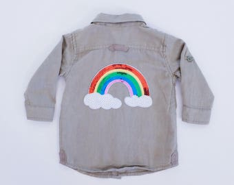 Upcycled Cotton On Khaki Button-Up Shirt Size 6-12months
