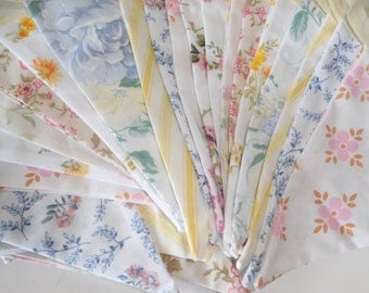 10 metres of vintage bunting - large double sided flags - pastel colours - eco / recycled / upcycled