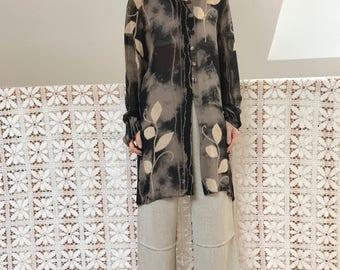 Long minimalist vintage transparent floral shirt