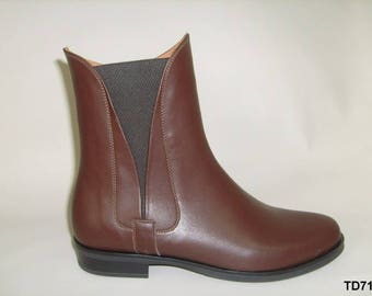 Genuine leather women's handmade ankle boots