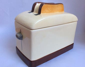 Biscuit Barrel - Cookie Jar- In shape of Toaster. Retro Vintage Kitchenware
