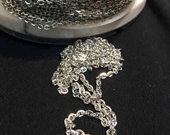 Platinum finish Iron Chain, 3 mm x2 mm, 3 feet per lot, jewelry supplies