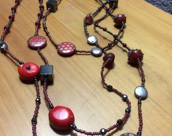 Necklace/Bracelet - Coral, Glass & Ceramic Beaded
