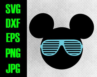 Mickey Sunglasses - svg, dxf, eps, png, jpg cutting files cricut, silhouette iron on Disneyland Aviator Mickey Mouse Hipster Sunglasses
