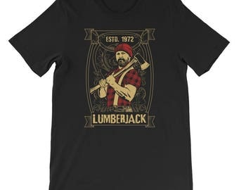 Lumberjack t shirt Graphic Woodcutter t shirt Lumberjack tee Short-Sleeve Unisex T-Shirt
