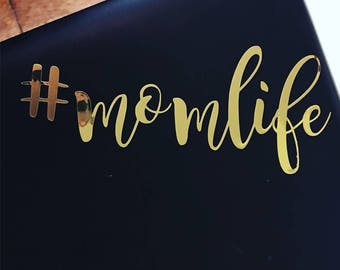 Gold foil #momlife decal