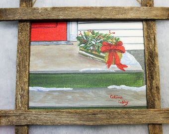 Hand Painted, One of a Kind, Acrylic Painted Christmas Arrangement,Winter Scene,Rustic Frame made of Lobster Trap Boards,Wall Hanging, Gift