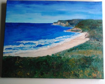 Oil Painting Seascape After Landing Merewether View