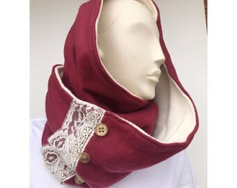 Long maroon infinity scarf with lace and buttons