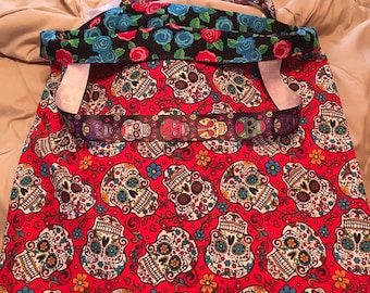 Handmade Reversible Sugar Skulls/Roses Bag