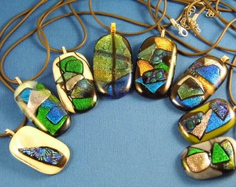 Handmade Unique Dichroic Fused Glass Pendants.  Reduced!  Stock Clearance!