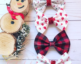 Christmas bows , faux leather bow , holiday bow