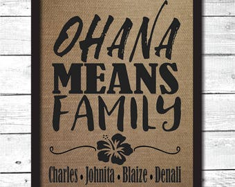 ohana means family personalized sign, personalized gift, personalized ohana decor, personalized family sign, personalized family gift, B8