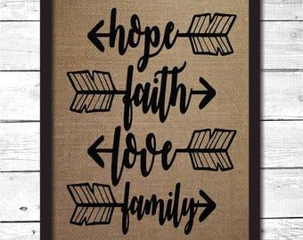hope faith love family, arrow decor, family wall art, faith decor, faith wall art, boho wall art, boho chic sign, bohemian decor, F5