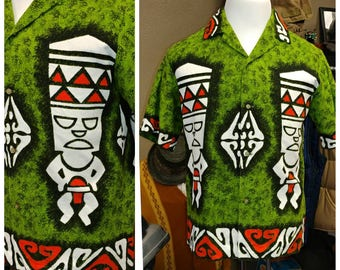 Vintage Barkcloth Keone of Hawaii Tiki Shirt