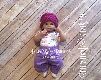 Basket Weave Hat - 6 Sizes Available; pink, fuschia, feminine, home from hospital, baby girl   ***READY TO SHIP***