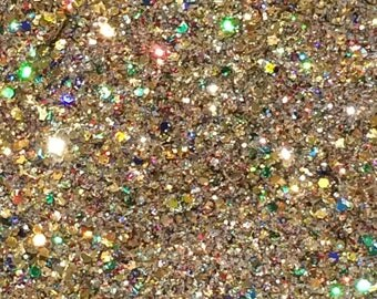 Gorgeous holographic nail art glitter - Gold Shimmer 5g bag
