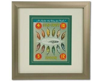 """Framed  """"Sun-Spot"""" Fishing Lure Vintage Art"""