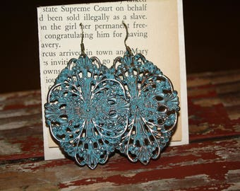Large Turquoise Patina Dangle Earrings