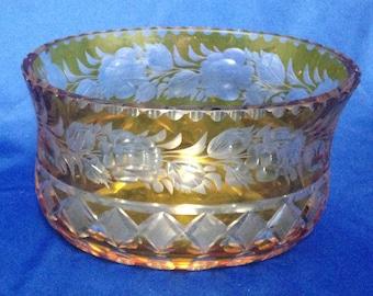 Debbie Reynolds Estate:  Heavy Yellow Oval Cut Glass Bowl