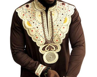 Odeneho Wear Mens coffee brown Polished Cotton Top with Embroidered Design African Clothing