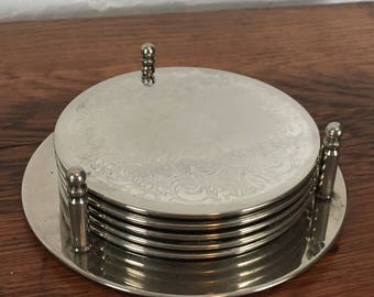 Silverplate Coasters in Stand