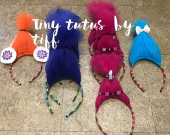 troll headbands...poppy headbands...branch headbands...troll accessories...troll fun...trolls