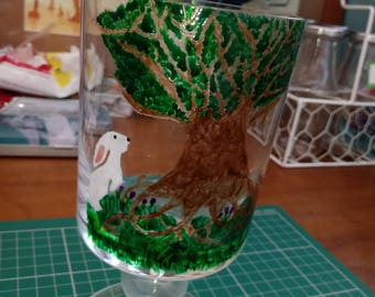 Hare & tree candle holder