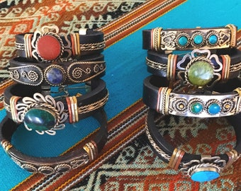 Various Crystal and Leather Bracelets