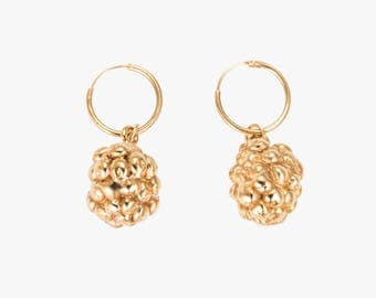 Gold Blackberry Earrings